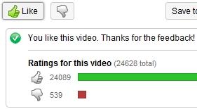 YouTube Like button
