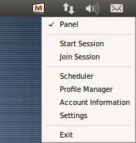 Mikogo Linux menu