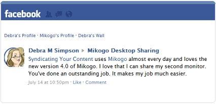 Mikogo Review Feedback Facebook