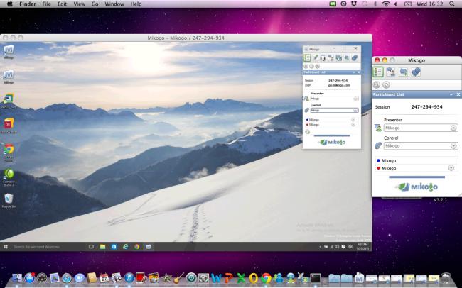 Windows 10 with Mac screen sharing