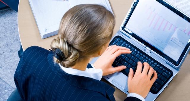 Businesswoman desktop sharing